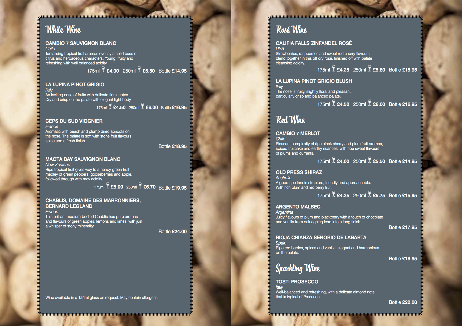 Dell Cafe drinks and wine menu 2